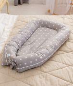 Baby Kuschelnest Grau Reisebett Babynest Baumwolle STANDARD 100 by OEKO-TEX ComfortBaby
