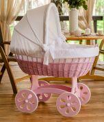 Berceau XXL HOME - couleur bois rose - Avec linge de lit